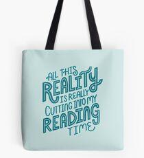 Bolsa de tela Realidad Vs. Libro de lectura Nerd cita letras