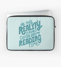 Reality Vs. Reading Book Nerd Quote Lettering Laptop Sleeve