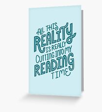 Reality Vs. Reading Book Nerd Quote Lettering Greeting Card