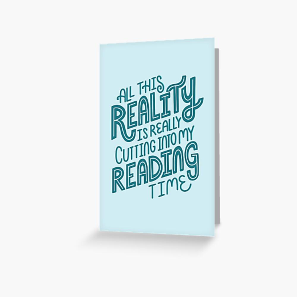Realidad Vs. Libro de lectura Nerd cita letras Tarjetas de felicitación