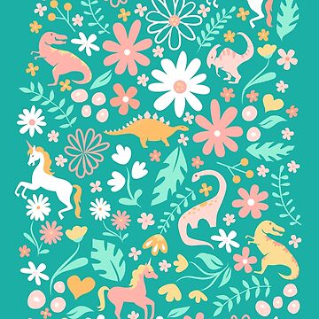 Dinosaurs + Unicorns in Teal by latheandquill