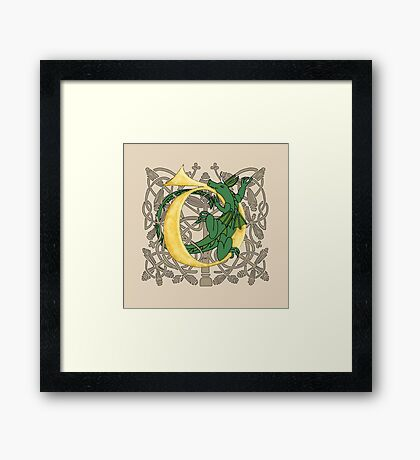 D is for Dragon Gold Framed Print