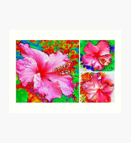 Collage with Hibiscus  Art Print