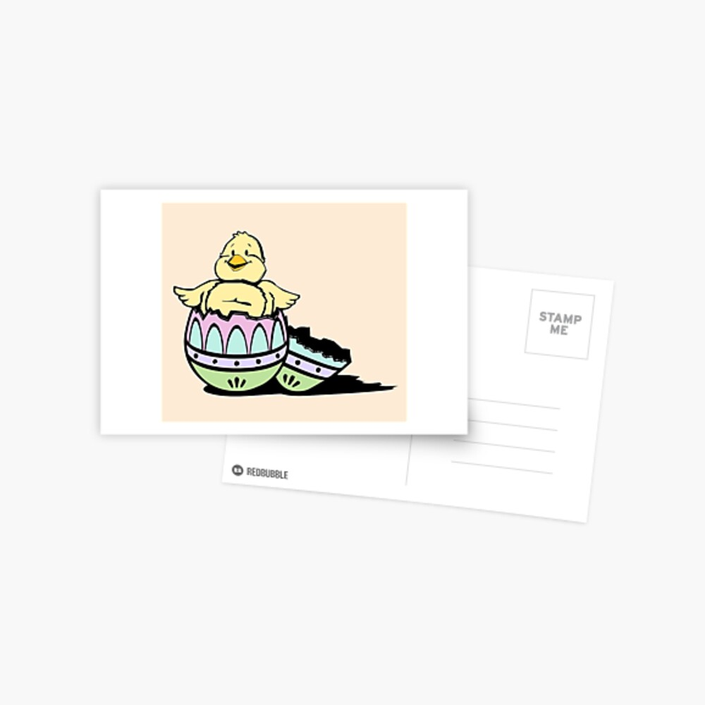 Easter Basket Stuffers - Hatching Chick and Easter Egg - Easter Present Postcard