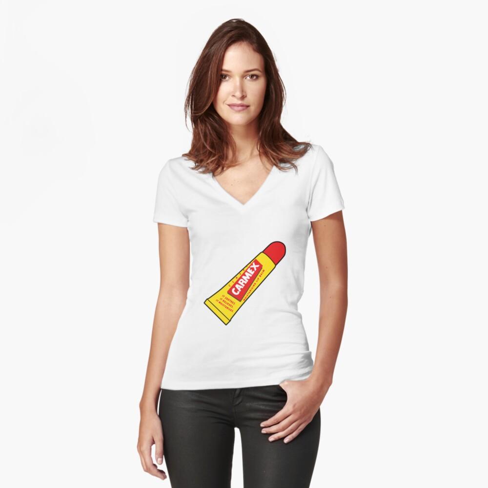 Lippenbalsam Tailliertes T-Shirt mit V-Ausschnitt