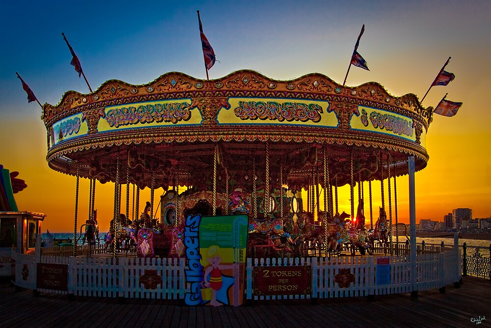 Carousel at Sunset on Brighton Pier by Chris Lord