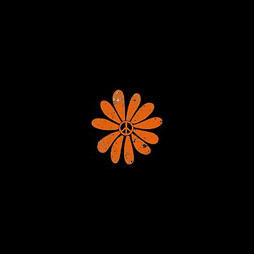 Hippie Peace Sign Flower Orange Distressed Look by Swigalicious