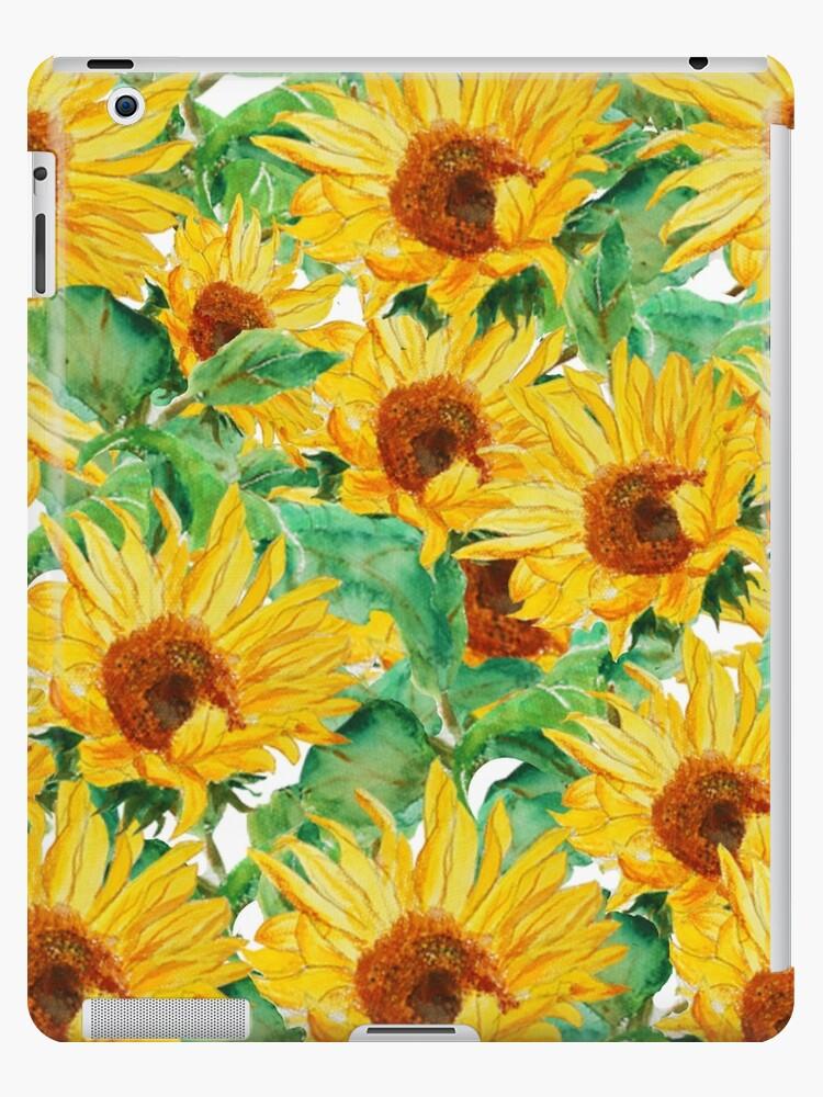 helles gelbes Sonnenblumen-Aquarellmuster von ColorandColor