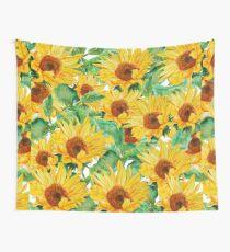 helles gelbes Sonnenblumen-Aquarellmuster Wandbehang