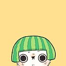 Shy Watermelon Cat - White Version  by Bumcchi