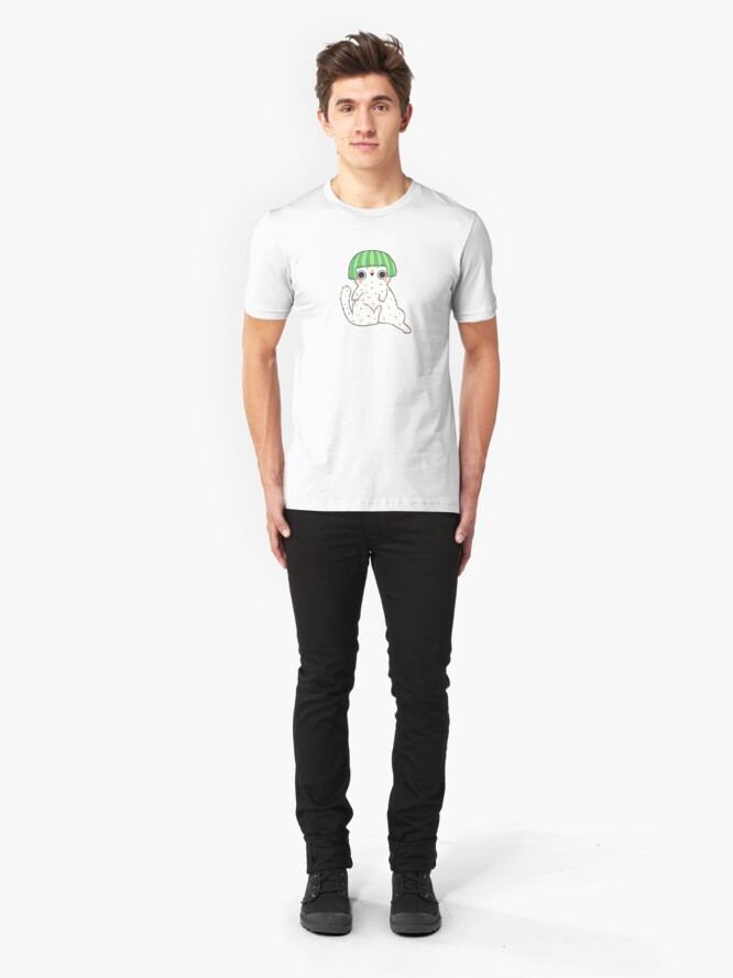 Alternate view of  Shy Watermelon Cat - White Version  Slim Fit T-Shirt