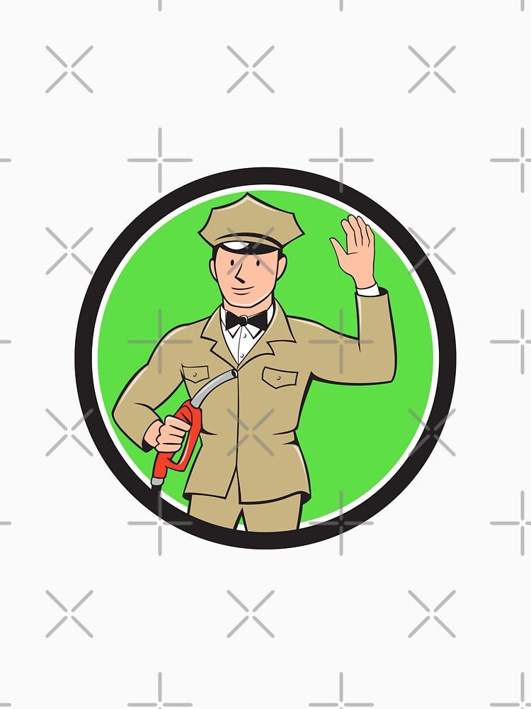 Gas Jockey Attendant Waving Circle Cartoon by patrimonio