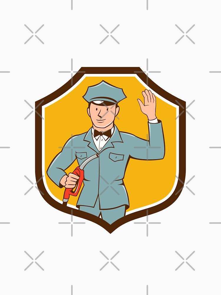 Gas Jockey Attendant Waving Shield Cartoon by patrimonio