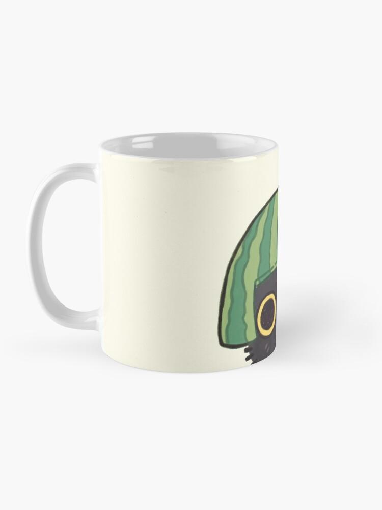 Alternate view of Shy Watermelon Cat - Black Version  Mug