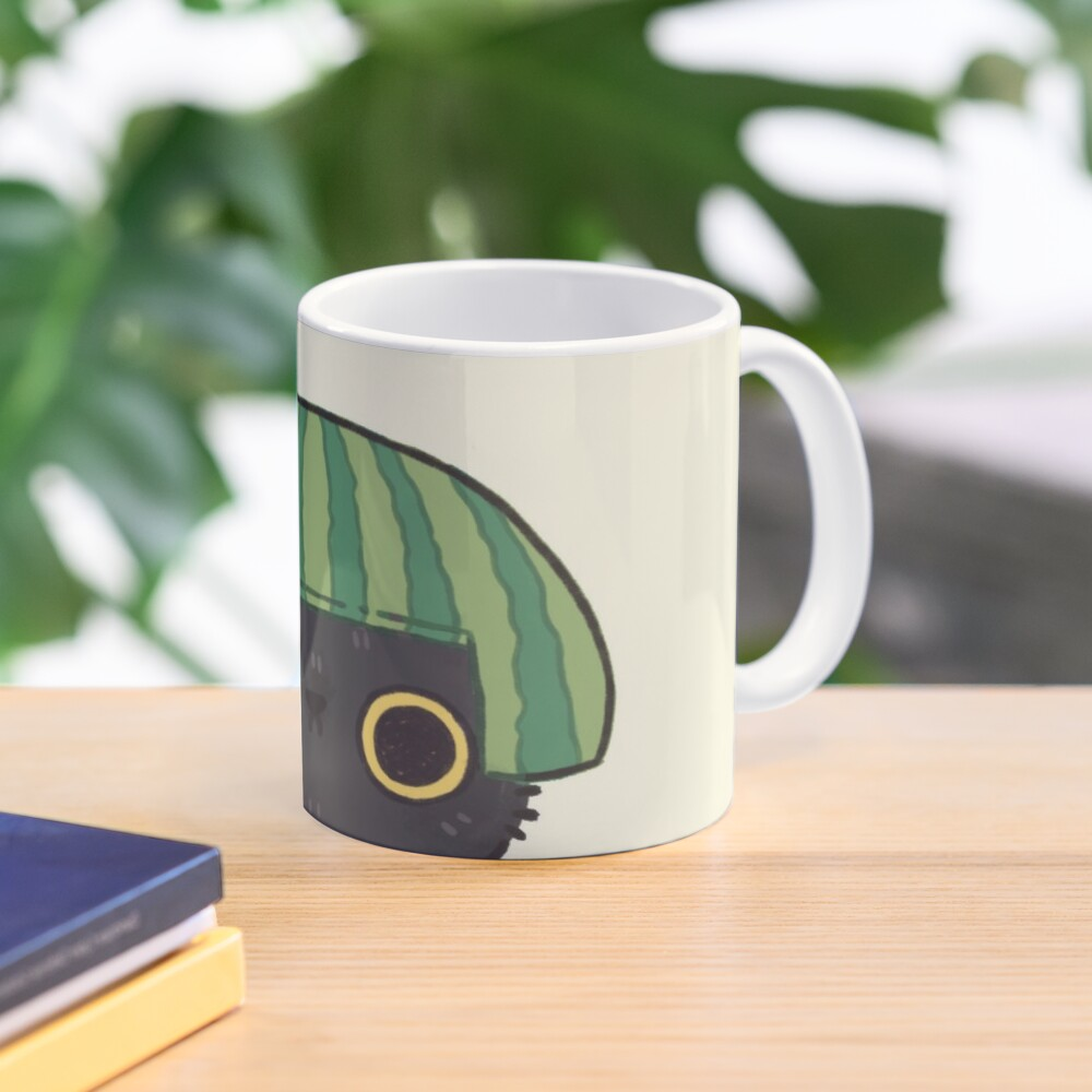 Shy Watermelon Cat - Black Version  Mug