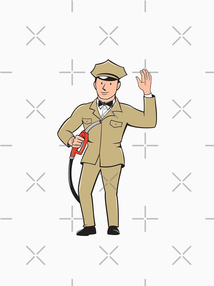 Gas Jockey Attendant Waving Isolated Cartoon by patrimonio