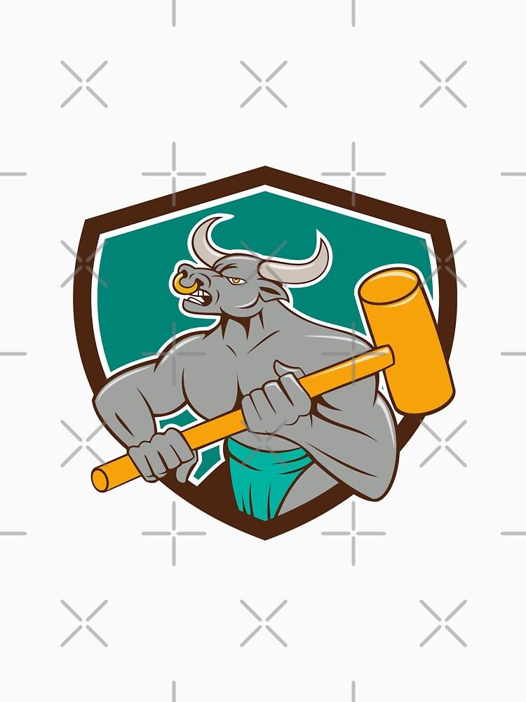 Minotaur Wielding Sledgehammer Shield Cartoon by patrimonio