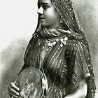 A digital painting of an Egyptian Dancing Girl With Tambourine ca1900 by Dennis Melling