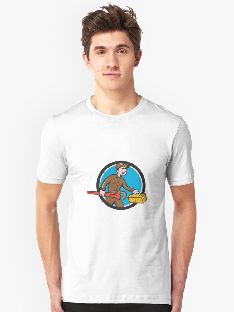 Plumber Carrying Monkey Wrench Toolbox Circle Unisex T-Shirt Front