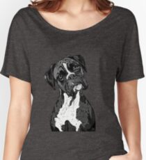 Black and White Boxer Art Women's Relaxed Fit T-Shirt