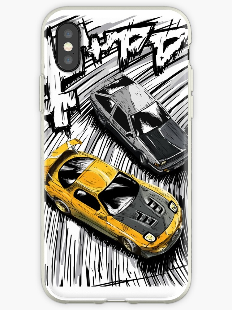 pretty nice 4e028 ff802 'Initial D style artwork, RX7 vs AE86' iPhone Case by NutzArt