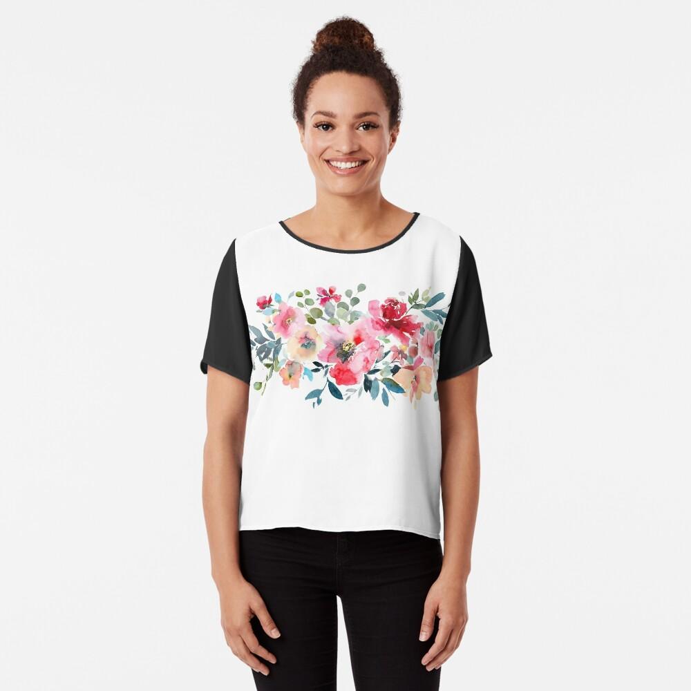Aquarell-rote Ombre-Garten-Rosen Chiffon Top