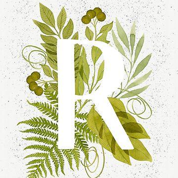 Monograma de la letra R con helecho verde acuarela y hojas de helga-wigandt