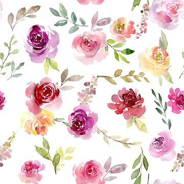 Aquarell-Sommergarten-Rosen von PixDezines