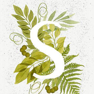 Monograma de la letra S con helecho verde acuarela y hojas de helga-wigandt