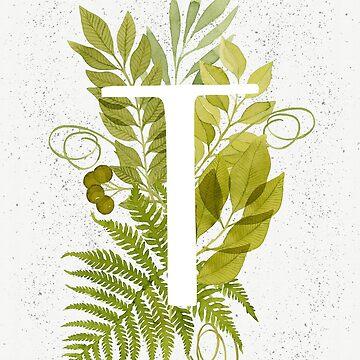 Monograma de la letra T con helecho verde acuarela y hojas de helga-wigandt