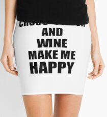 Cross-Stitch And Wine Make Me Happy Funny Gift Idea For Hobby Lover Mini Skirt