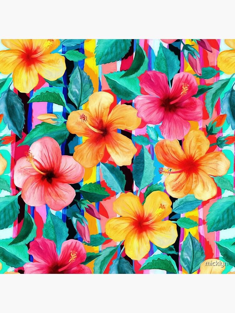 OTT Maximalist Hawaiian Hibiscus Floral mit Streifen von micklyn