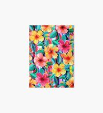 OTT Maximalist Hawaiian Hibiscus Floral mit Streifen Galeriedruck