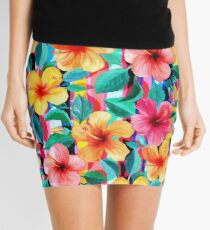 Minifalda OTT maximalista hawaiano hibisco floral con rayas