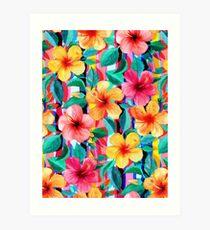 Lámina artística OTT maximalista hawaiano hibisco floral con rayas