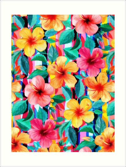 «OTT maximalista hawaiano hibisco floral con rayas» de micklyn
