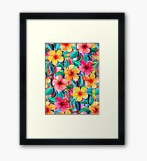OTT Maximalist Hawaiian Hibiscus Floral mit Streifen Gerahmtes Wandbild
