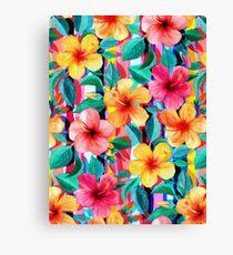 Hibiscus hawaïen minimaliste d'OTT Floral avec des rayures Impression sur toile