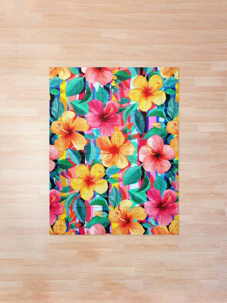 Alternate view of OTT Maximalist Hawaiian Hibiscus Floral with Stripes Comforter