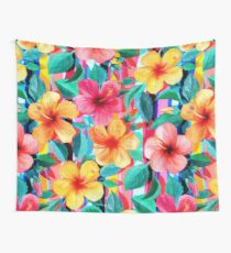 OTT Maximalist Hawaiian Hibiscus Floral with Stripes Wall Tapestry
