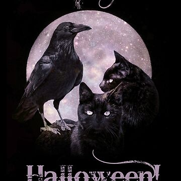 Raven and Black Cats Happy Halloween Black and Purple by LazyL