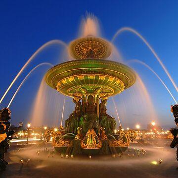 «Fontaine des Fleuves la nuit» par Isenmann