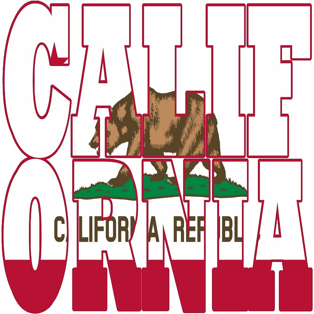 California state flag typograhy by oconnart