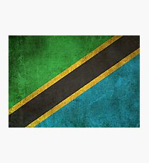 Old and Worn Distressed Vintage Flag of Tanzania Photographic Print
