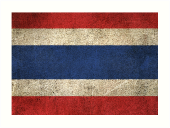Old and Worn Distressed Vintage Flag of Thailand by jeff bartels