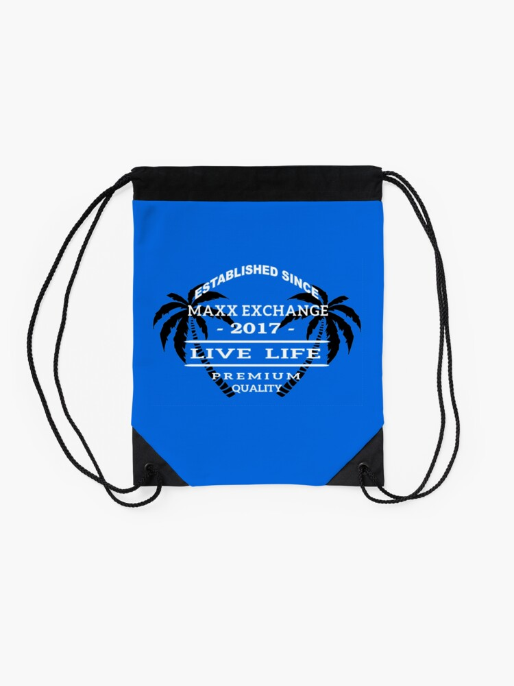 Alternate view of Vacation Beach Wear, Live Life, Maxx Exchange. Drawstring Bag