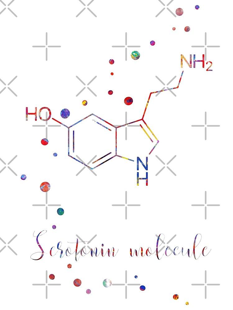 Serotonin molecule, hormone by Rosaliartbook