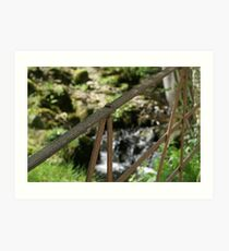 old iron gate by stream in Hawkshead Art Print