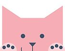 Peek-a-Boo Cat with Paws Up and Little Smile, Pink and Navy by Kendra Shedenhelm