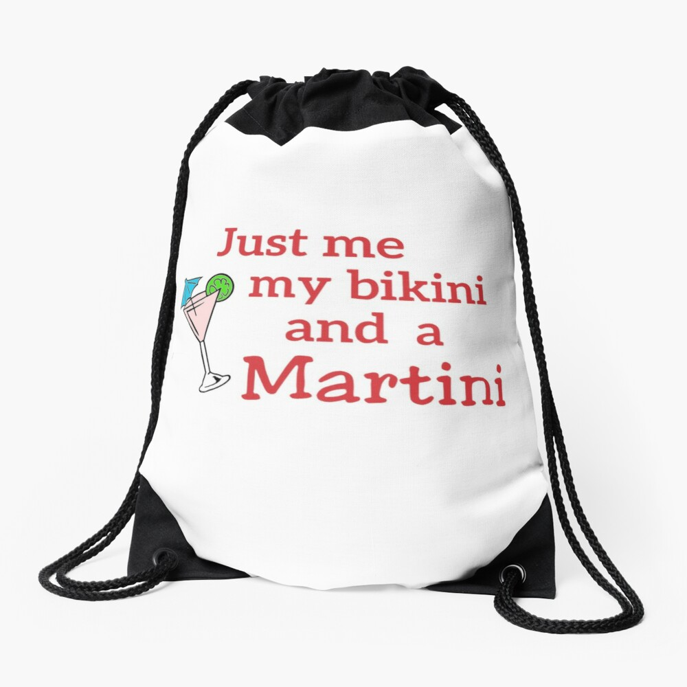 Martini Bikini. Ladies Funny Gift. Drawstring Bag